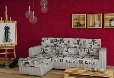 Canapea de colt extensibila cu tetiere si sezlong cu lada